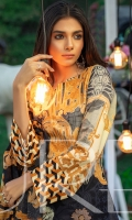 Shirt : Printed Lawn With Embroidered Front. Dupatta : Printed Chiffon Dupatta. Trouser : Dyed Cambric Trouser.