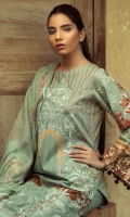 Shirt : Printed Jacquard Cambric Shirt with Embroidered Front.  Dupatta : Printed Chiffon Dupatta Trouser : Dyed Trouser