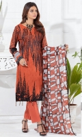 Shirt : Printed Cambric Jacquard with Embroidered Front (thread and Zari) Dupatta : Printed Chiffon Dupatta. Trouser : Dyed Cambric Trouser