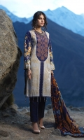 Shirt: Printed Embroidered Cambric Shirt. Trouser: Dyed Cambric Trouser Dupatta: Printed Wool Net Dupatta.