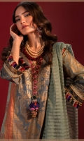 Gold Printed Shirt Front on Cotton Satin 1.12 Meters Gold Printed Shirt Back on Cotton Satin 1.12 Meters Gold Printed Sleeves on Cotton Satin 0.65 Meters Embroidered Daman on Lawn Embroidered Patti on Lawn Gold Print Silk Borders 3 Meters Dyed Cotton Tensile Pants 2.5 Meters Dyed Woven Zari Dupatta 2.5 Meters.
