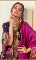 Gold Print Shirt Front on Cottel Fabric 1.12 Meters Gold Print Shirt Back on Cottel Fabric 1.12 Meters Gold Print Sleeves on Cottel Fabric 0.65 Meters 3 Embroidery Bunches on Lawn Dyed Cotton Tensile Pants 2.5 Meters Dyed Woven Zari Dupatta 2.5 Meters.