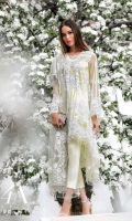 Soft lemon yellow shirt front, back and sleeves embellished with sequin florets reminiscent of French lace paired with a slip and an Indian raw silk trouser, complimented with a lace designed resham embroidered net dupatta.