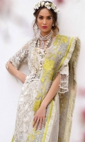Bold period style floral in muted gold embroidered with cord and zari on front,back and sleeves, and a lime green satin embroidered border paired with a slip and an Indian raw silk trouser accentuated with a fresh lime green floral resham embroidered dupatta.