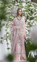 Beautiful Tea Pink resham and badla traditional embroidered shirt front, back and sleeves on poly net along with hand embroidered pearl body provided with a slip and an Indian raw silk trouser fabric paired with an embroidered net dupatta.