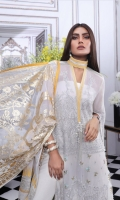 Shirt Front Smoky Georgette with EMB: 1.27 Meters Shirt Back Smoky Georgette Digital Print: 1.27 Meters Sleeves Smoky Georgette with EMB: 1.37 Meters Poly Net Foil Print Dupatta: 2.50 Meters Dyed PK Raw Silk Shalwar: 2.50 Meters Tissue EMB Daman Border: 1 Meter Tissue EMB neck Border: 1 Meter Dyed Cotton Slip Fabric: 2.3 Meter