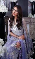 Shirt Front Poly Net With EMB: 1.07 Meters Shirt Back Poly Net With EMB: 1.07 Meters Front + Back Body Part Poly Net With EMB: .57 Meter Sleeves Poly Net With EMB: 1.37 Meters Dupatta Poly Net With EMB: 2.7 Meters Dyed PK Raw Silk Shalwar: 2.50 Meters Dyed Staple Cotton Slip Fabric: 2.50 Meters Tissue Neck Cord EMB Border: 1 Meter Tissue EMB Border: 1 Meter