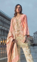 Jacquard Shirt Front with Embroidery: 1.27 Meters  Jacquard Shirt Back Gold Print: 35 Inches Jacquard Sleeves Gold Print: .65 Meters Gold Jacquard Dyed Dupatta: 2.50 Meters Cotton Shalwar Gold Print: 2.50 Meters Heavy Embroidery for Daman Border: 1 Meter Cotton Border Digital print: 1 piece
