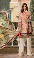 Shirt Front with Embroidery: 1.27 Meters  Shirt Back+Border Digital: 1.15 Meters Sleeves Digital Print: .65 Meters 100% Pure Silk Dupatta: 2.50 Meters Cotton Plain Dyed Shalwar : 2.50 Meters Cotton Shalwar Printed Border: 2 Pieces