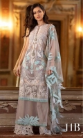 Shirt Front Poly Net with Embroidery: 1.27 Meters  Shirt Back Poly Net With Embroidery: 1.27 Meters Sleeves Poly Net With Embroidery: 1.32 Meters Dupatta Poly Net With Embroidery: 2.50 Meters Cotton Shalwar Printed: 2.50 Meters Dyed Slip Fabric: 2.30 Meter