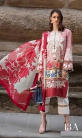 Shirt Front+border Digital Print: 1.25 Meters  Shirt Back+Border Digital Print: 1.25 Meters Sleeves Digital Print with Embroidery: .65 Meters 100% Pure Crinkle Chiffon Dupatta Digital: 2.50 Meters Cotton Shalwar Printed: 2.50 Meters Embroidery for Neck: 1 Piece