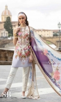 Jacquard Digital Front+Border with Embroidery : 1.25 Meters Jacquard Shirt Back+Border Digital: 1.25 Meters Jacquard Sleeves Digital: .65 Meters 100% Pure Chiffon Digital Dupatta: 2.50 Meters Cotton Plain Dyed Shalwar : 2.50 Meters Embroidery Neckline: 01 Pcs