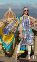 Jacquard Shirt Front with Embroidery: 1.27 Meters  Jacquard Shirt Back+Printed Border: 1.15 Meters Jacquard Sleeves Printed: .65 Meters 100% Pure Silk Dupatta Digital: 2.50 Meters Cotton Shalwar Printed: 2.50 Meters Front and Back Border Printed: 80 Inches