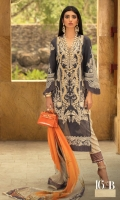 Embroidered Slub Lawn Shirt Front - 1.25 Meters Paste Printed Slub Lawn Shirt Back - 1.25 Meters Paste Printed Slub Lawn Sleeves - 0.65 Meters Digital Printed Khaddi Dupatta - 2.5 Meters Printed Cotton Trouser - 2.5 Meters.