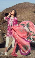 Embroidered Lawn Shirt Front - 1.25 Meter Printed Lawn Shirt Back - 1.25 Meter Printed Lawn Sleeves - 0.65 Meter Cutwork border for Sleeves - 1 Meter Digital Printed Silk Dupatta - 2.5 Meter Dyed Cotton Trouser - 2.5 Meter.