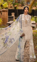Embroidered Tulle Shirt Front – 1.25 Meter Embroidered Tulle Shirt Back – 1.25 Meter Embroidered Tulle Side Kali – 0.65 Meter Embroidered Tulle Sleeves – 0.65 Meter Embroidered Tulle Border – 1 Meter Hand Work Broche – 1 Piece Slip Fabric – 2.5 Meter Digital Printed Organza Dupatta – 2.5 Meter Paste Printed Cotton Trouser – 2.5 Meter