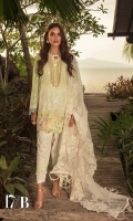 Embroidered Slub Lawn Shirt Front - 1.25 Meter Paste Printed Slub Lawn Shirt Back - 1.25 Meter Paste Printed Slub Lawn Sleeves - 0.65 Meter Embroidered Tulle Dupatta - 2.5 Meter Paste Printed Cotton Trouser - 2.5 Meter.