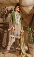 Digitally printed front on lawn: 1.25m Digitally printed back on lawn: 1.25m Digitally printed sleeves on lawn: 0.65m Embroidered neckline on organza Dyed pants: 2.5m Printed Dupatta on chiffon (blended): 2.5m