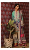 Digitally printed front on lawn: 1.25m Digitally printed back on lawn: 1.25m Digitally printed sleeves on lawn: 0.65m  Embroidered neckline on organza Printed pants: 2.5m Digitally printed Dupatta on lawn: 2.5m