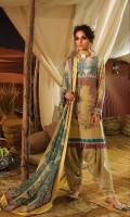Digitally printed front on lawn: 1.25m Digitally printed back on lawn: 1.25m Digitally printed sleeves on lawn: 0.65m Printed pants: 2.5m Printed Dupatta on chiffon (blended): 2.5m
