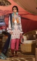 Digitally printed front on lawn: 1.25m Digitally printed back on lawn: 1.25m Digitally printed sleeves on lawn: 0.65m  Embroidered neckline on organza Printed pants: 2.5m Printed Dupatta on chiffon (blended): 2.5m