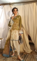 Digitally printed front on lawn: 1.25m Digitally printed back on lawn: 1.25m Digitally printed sleeves on lawn: 0.65m  Dyed pants: 2.5m Digitally printed Dupatta on lawn: 2.5m