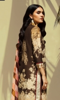 Printed front on LAWN: 1.15m Printed back on LAWN: 1.15m Printed sleeves on LAWN: 0.6m Printed Dupatta on silver chiffon: 2.4m Embroidery neckline on organza Printed cotton shalwar: 2.4mes.