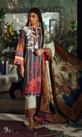Digitally printed front on LAWN: 1.15m Digitally printed back on LAWN: 1.15m Digitally printed sleeves on LAWN: 0.6m Digitally printed Dupatta on Lawn: 2.4m Embroidery patch on organza.