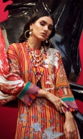 Digitally printed front on LAWN: 1.15m Digitally printed back on LAWN: 1.15m Digitally printed sleeves on LAWN: 0.6m Digitally printed Dupatta on Lawn: 2.4m Embroidery patch on organza