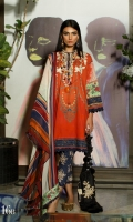 Digitally printed front on LAWN: 1.15m Digitally printed back on LAWN: 1.15m Digitally printed sleeves on LAWN: 0.6m Printed Dupatta on silver chiffon: 2.4m 2 Embroidery patches on organza Printed cotton pants : 2.4m