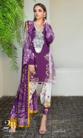 Digitally printed front on LINEN: 1.20m Digitally printed back on LINEN: 1.20m Digitally printed sleeves on LINEN: 0.65m Embroidered neckline on organza Printed pants: 2.5m Printed Dupatta on LINEN: 2.5m