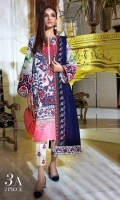 Digitally printed front on SLUB: 1.20m Digitally printed back on SLUB: 1.20m Digitally printed sleeves on SLUB: 0.65m Printed Dupatta on khaddar: 2.5m