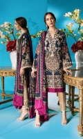 Digitally printed navy blue slub-lawn fabric shirt with a fusion of Mughal and Moroccan ornament patterns, contrasted with a magenta color-block design and silk-thread floral embroidered bodice. Blend chiffon dupatta with a bold and modern leaf pattern in complementary colors.