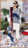 A color-blocked navy and cream slub-lawn shirt with a bold Suzani design, offset by modern embroidery patterns on the bodice. Printed sleeves and back with a maroon blend-chiffon dupatta.