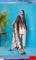 Cotton-satin blue and cream printed shirt with an embroidered chintz border and a printed color-blocked blend-chiffon dupatta.
