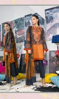 Cotton-satin charcoal shirt with a color-blocked rust silk-embroidered neckline and a rust printed blend-chiffon dupatta.