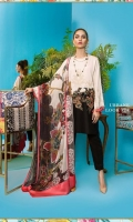 Cotton-satin black and cream printed shirt with an embroidered chintz border and a printed color-blocked blend-chiffon dupatta.