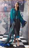 Printed bohemian linen shirt in color-blocked shades of yellow and grey with a printed blended-chiffon dupatta