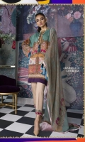 Printed linen shirt with floral and Mughal patterns in moss green and Kashmiri pink with a printed blend-chiffon dupatta