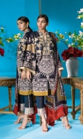 Digitally printed black slub-lawn fabric shirt with a fusion of Mughal and Moroccan ornament patterns, contrasted with a warm mustard color-block design and a silk-thread floral embroidered bodice. Blend- chiffon dupatta with a bold and modern leaf pattern in complementary colors.