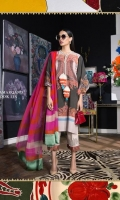 Mendhi-green digital printed linen shirt with a fusion of Kashmiri shawl and floral prints. Color-blocked pink and orange blend-chiffon dupatta.