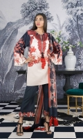 A red, black and cream printed cotton-satin shirt with chintz and modern graded stripes with a floral border and a printed blend-chiffon dupatta.