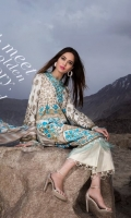 Delicate Turkish designed embroidery in bright colors on front, along with gold paste sleeves and back accentuated with a blended chiffon printed dupatta and a cotton trouser.