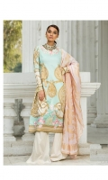 Gold printed shirt on lawn fabric with Indian jacquard dupatta & Embroidered neck and daman on organza.