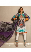 Digital printed shirt on Lawn Fabric with blend chiffon printed dupatta.