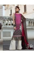Printed shirt front with embriodery on Lawn Fabric with blend chiffon printed dupatta & 2 Embriodered bunches on organza