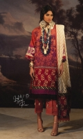 Embroidered front on LAWN: 1.15m Digitally printed back on LAWN: 1.15m Digitally printed sleeves on LAWN: 0.65m Jacquard Weave net Dupatta: 2.5m Printed border on Silk: 3m Dyed cotton Pants: 2.5m