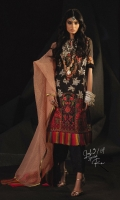 Gold printed front on LAWN: 1.15m Gold printed back on LAWN: 1.15m Gold printed sleeves on LAWN: 0.6m Gold Zari check Dupatta: 2.5m Embroidered neck on Lawn 03- Embroidered patches for daman Dyed Cotton pants: 2.5m
