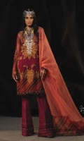 Embroidered front on Tulle Net with kali: 1.15m Embroidered back on Tulle Net: 1m Embroidered sleeves on Tulle Net: 0.6m Embroidered neck on tissue Gold Zari check Dupatta: 2.5m Printed Organza border: 3m Lawn Slip: 1.60 meters Dyed cotton Pants: 2.5m