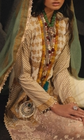 Gold printed front on LAWN: 1.15m Gold printed back on LAWN: 1.15m Gold printed sleeves on LAWN: 0.65m Gold Printed Dupata on Cotton net: 2.5m Embroidered Daman on Organza Embroidered patti: 1m Dyed Cotton pants: 2.5m